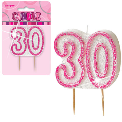 Pink Glitter Numeral 30 Birthday Candle