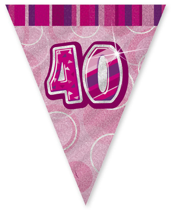 """Pink Age """"40"""" Prism Pennant Banner"""