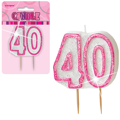 Pink Glitter Numeral '40' Birthday Candle