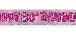 Pink 80th Birthday Prism Banner