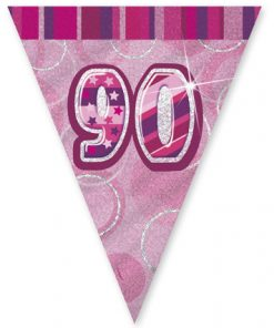 "Pink Age ""90"" Prism Pennant Banner"