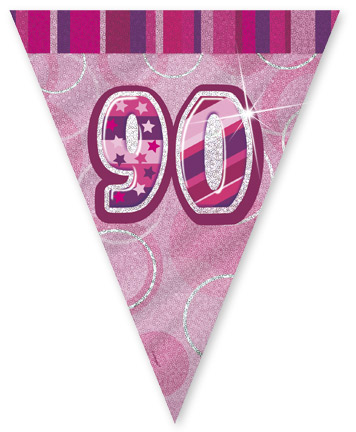"""Pink Age """"90"""" Prism Pennant Banner"""