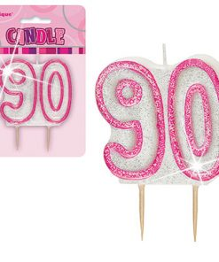 Pink Glitter Numeral '90' Birthday Candle