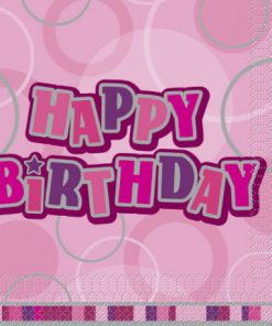 Pink Glitz Happy Birthday Luncheon Napkins