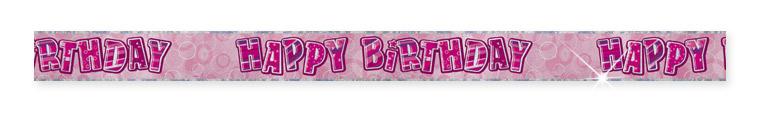 Pink Happy Birthday Prism Banner