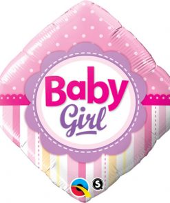 "18"" Diamond Baby Girl Dots & Stripes Foil"