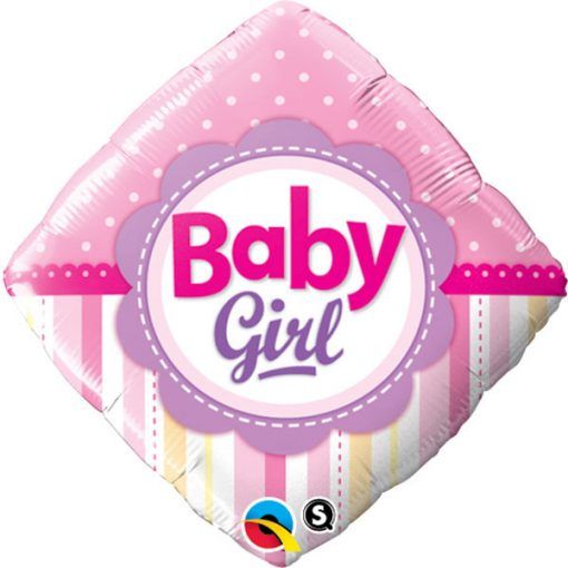 "18"" Diamond Baby Girl Dots & Stripes Foil"