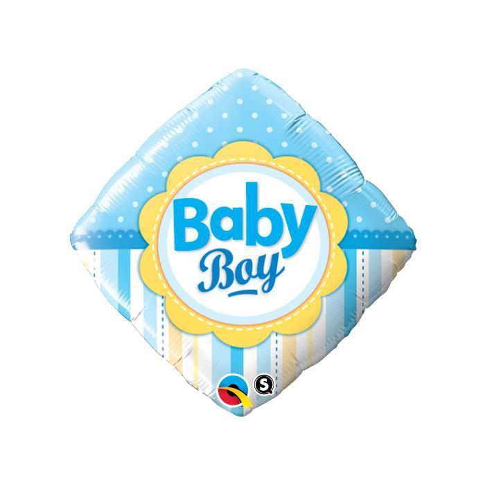 "18"" Diamond Baby Boy Dots & Stripes Foil"