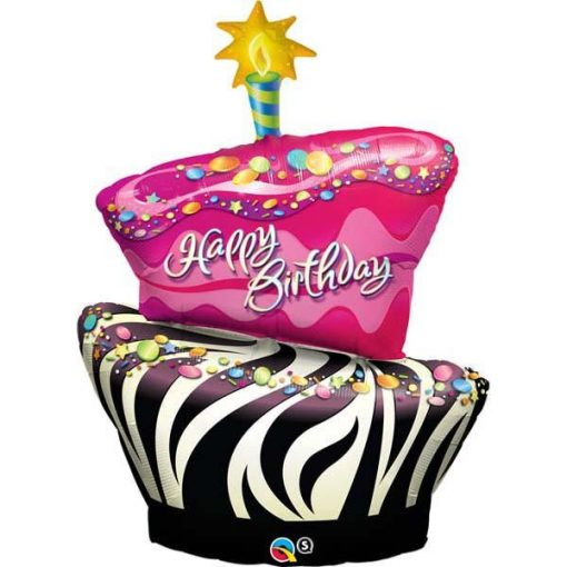 Birthday Funky Zebra Stripe Cake Shape Foil