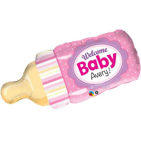 "39"" Shape Welcome Baby Bottle Pink Foil"