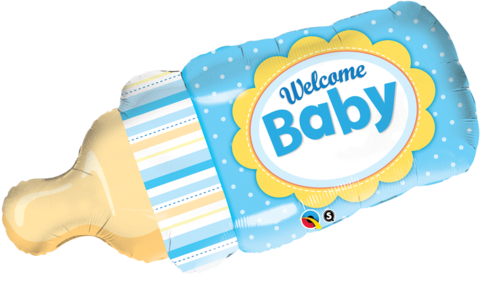 """39"""" Welcome Baby Bottle Blue Foil"""