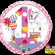 "18"" Rachel Ellen Age 1 Bunny Polka Dots Foil"