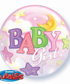 "22"" Baby Girl Moon & Stars Single Bubble"