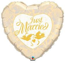 "18"" Just Married Ivory and Gold Foil"