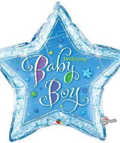 Welcome Baby Boy Stars Shape Foil