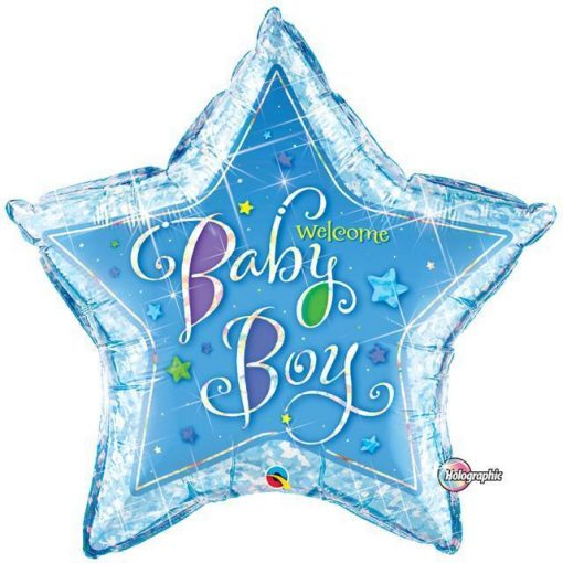 Welcome Baby Boy Stars Shape Foil