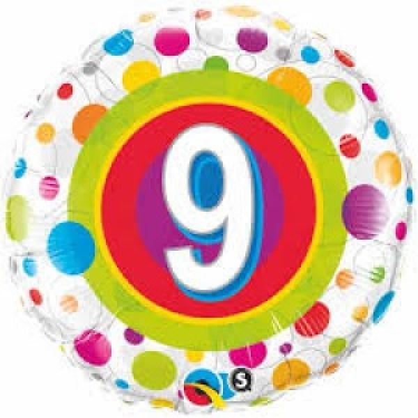 """18"""" Age 9 Colourful Dots Foil"""
