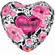 "18"" Wonderful Mum Floral Damask Foil Balloon"