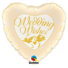 """18"""" Wedding Wishes Doves and Roses Foil"""