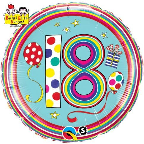 "18"" Rachel Ellen 18th Polka Dots and Stripes Foil"