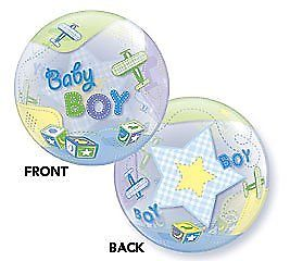 "22"" Baby Boy Airplanes Single Bubble"