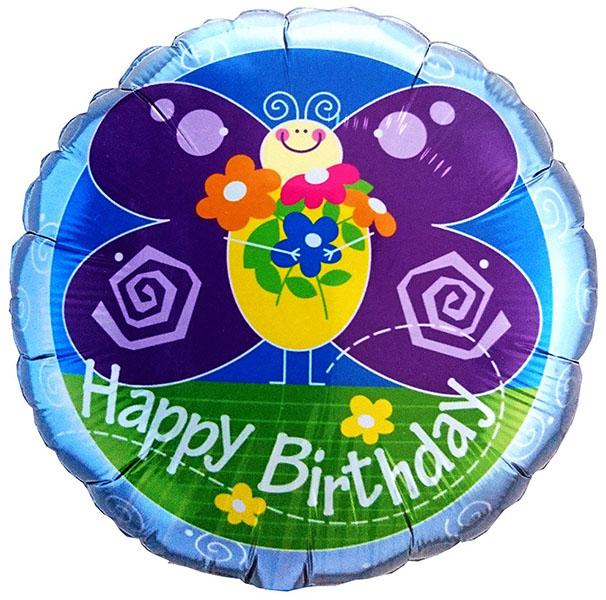 "18"" Butterfly Happy Birthday Foil"
