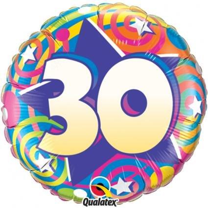 """18"""" 30 Stars & Swirls Foil"""
