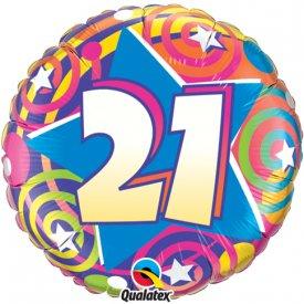 """18"""" 21st Stars & Swirls Foil"""