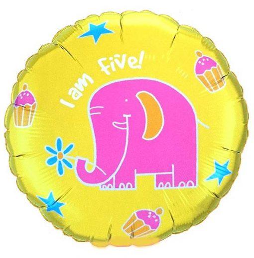 """18"""" Elephant 'I am five' Foil"""