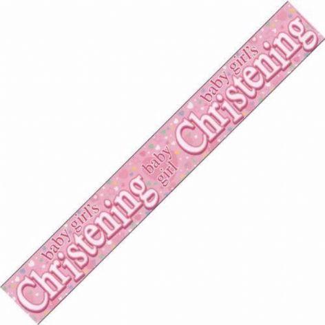 Baby Girl's Christening Banner