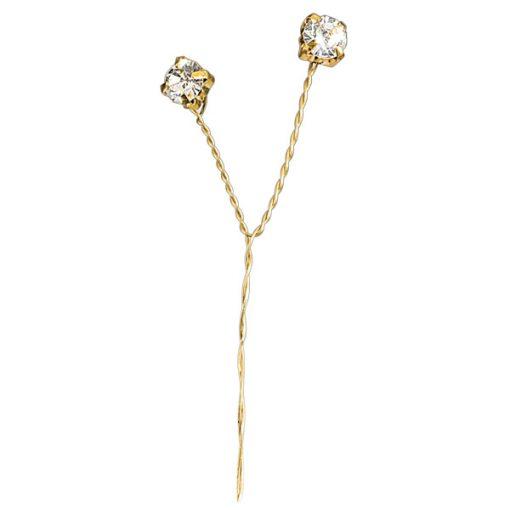 Large Clear Diamanté Gold Stem