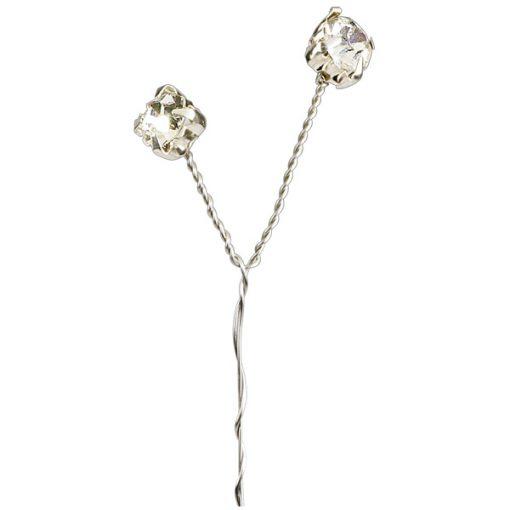 Large Clear Diamanté Silver Stem