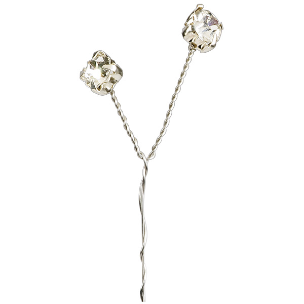 Large Clear Diamanté Silver Stem