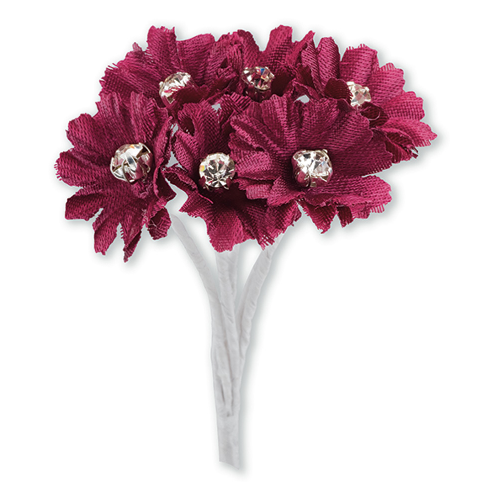 Burgundy Silk Daisy with Diamanté