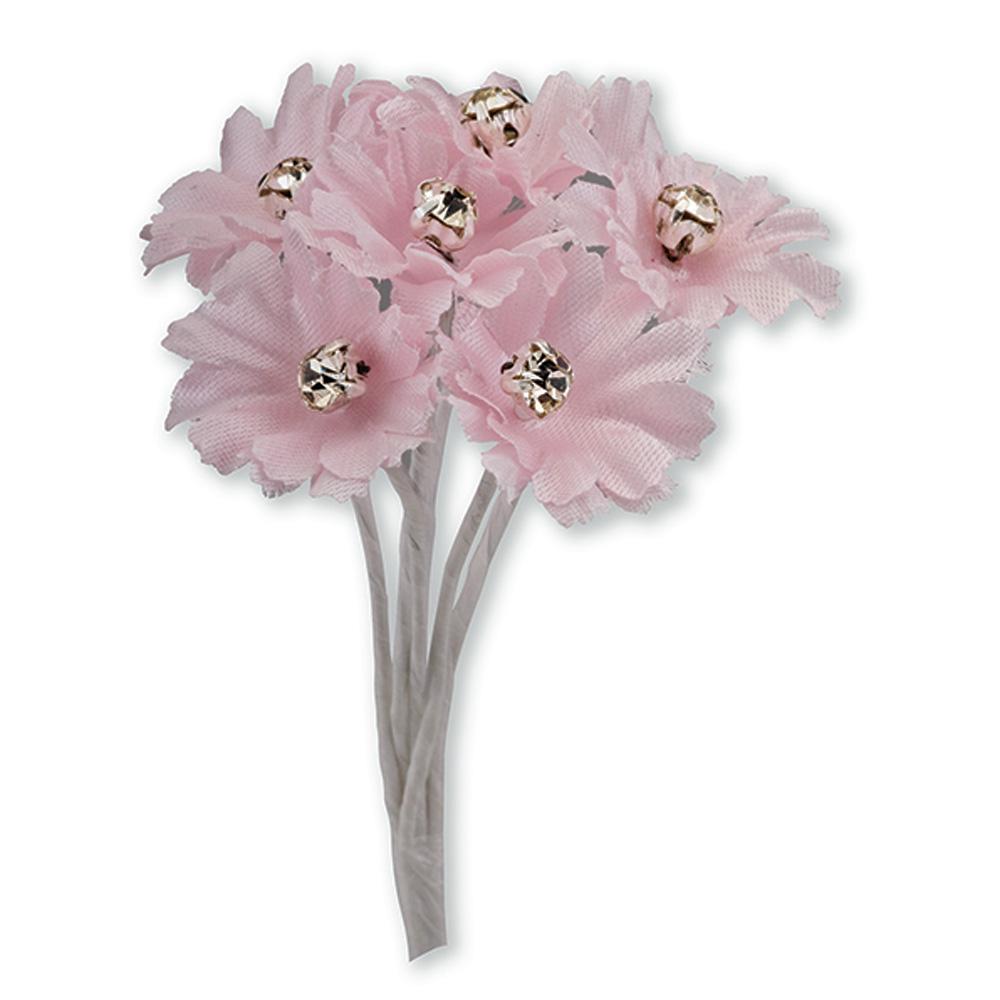 Pink Silk Daisy with Diamanté