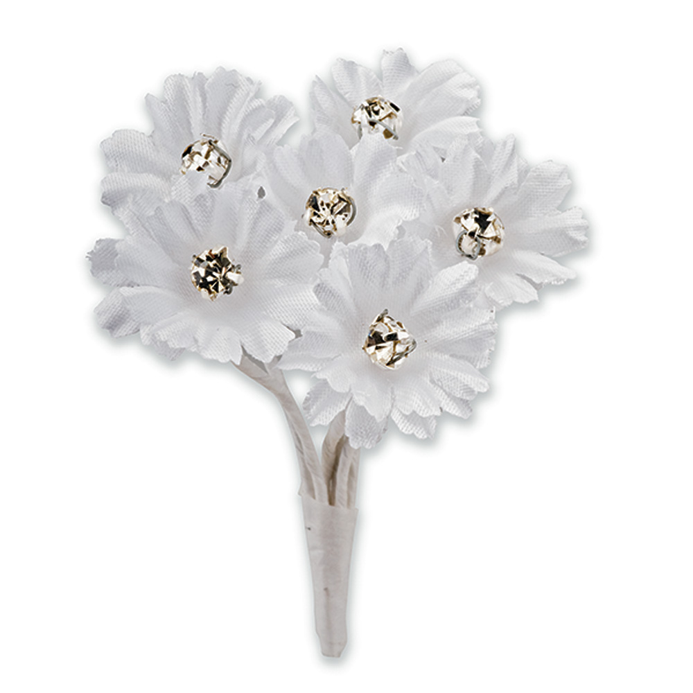 White Silk Daisy with Diamanté