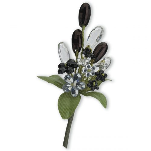 Crystal Flower Spray - Black/Clear