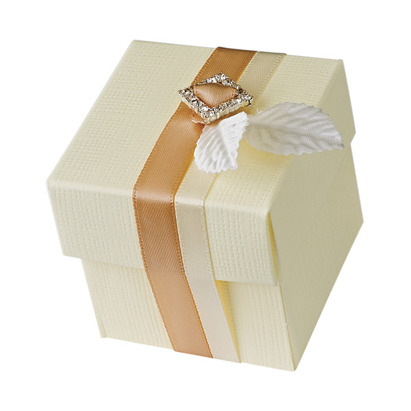 Ivory Silk Square Box with Lid
