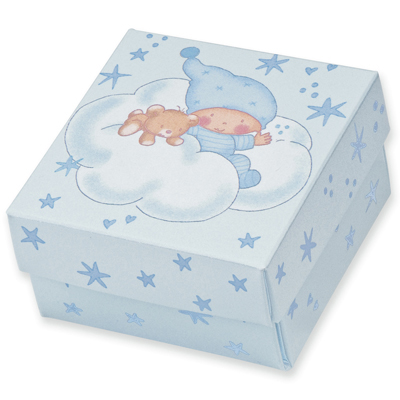 Blue Stars Baby Square Box with Lid