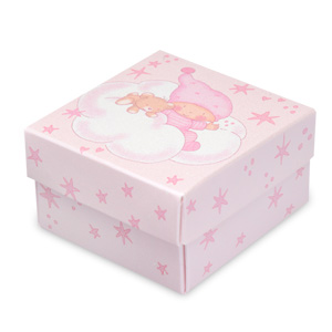 Pink Stars Baby Square Box with Lid