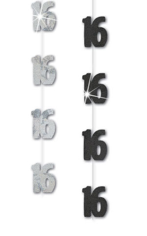 Black/Silver Age '16' Prism Hanging Decorations