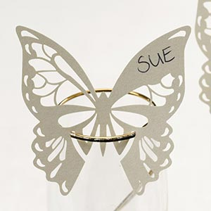 Elegant Butterfly Laser Cut Place Cards for Glass Ivory