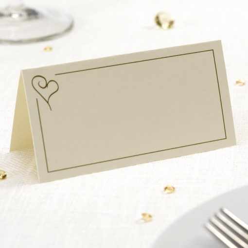 Contemporary Heart Place Cards - Ivory/Gold