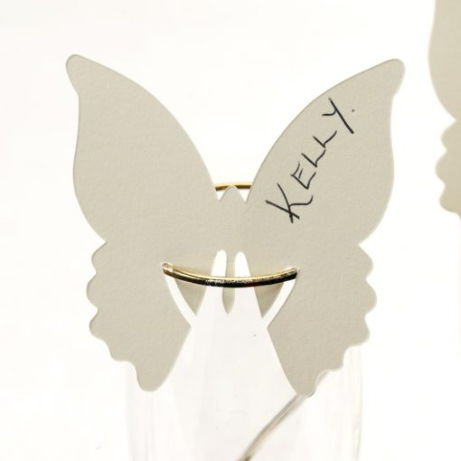 Butterfly Place Cards For Glass Ivory