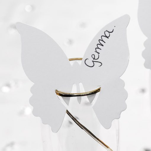 Butterfly Place Cards For Glass White