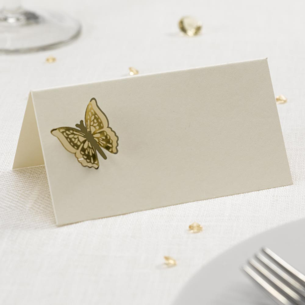 Elegant Butterfly 3D Place Cards Ivory/Gold