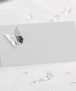 Elegant Butterfly- 3D Place Cards - White/Silver
