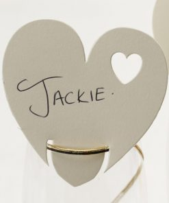 Contemporary Heart Place Cards on Glass Ivory
