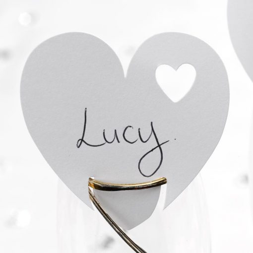 Contemporary Heart Place Cards on Glass White