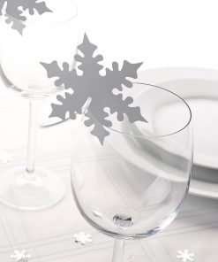 Shimmering Snowflake Place Cards For Glass - Silver